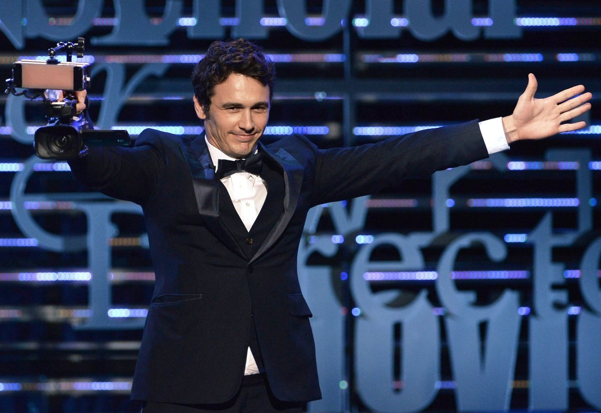 """Franco emerges from backstage with camcorder handy—a """"roast"""" doc in the works?  Photo: Comedy Central"""