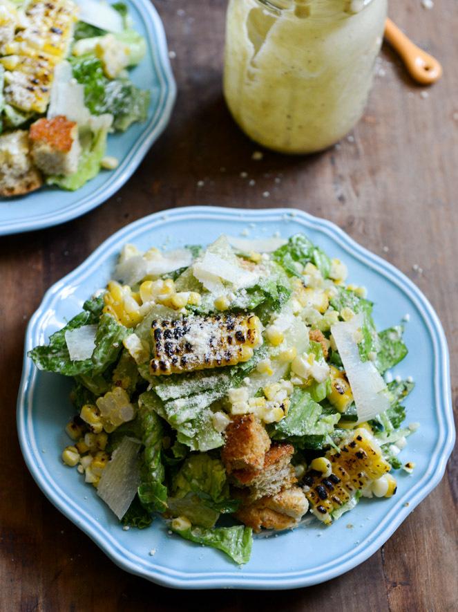 "<strong>Get the <a href=""http://www.howsweeteats.com/2013/08/roasted-corn-caesar-salads-with-parmesan-greek-yogurt-caesar-dre"