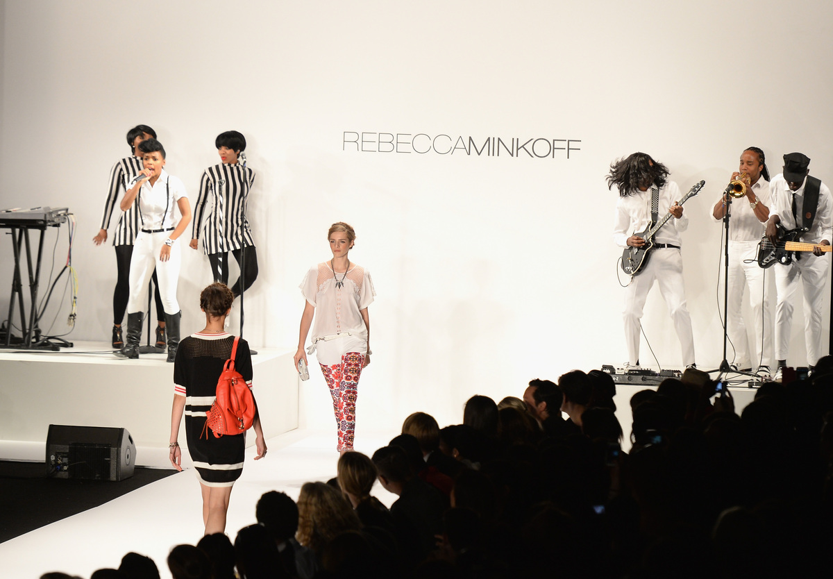 NEW YORK, NY - SEPTEMBER 06:  Models walk the runway at the Rebecca Minkoff Spring 2014 runway show while musician Janelle Mo