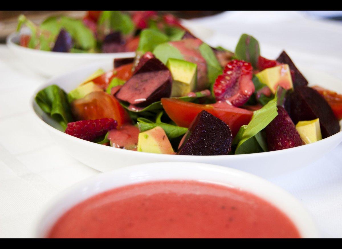 Serves: 10-12 Ingredients: ½ cup raspberries, fresh ½ cup olive oil ¼ cup red wine vinegar ¼ teaspoon salt 1/8 teaspoon black