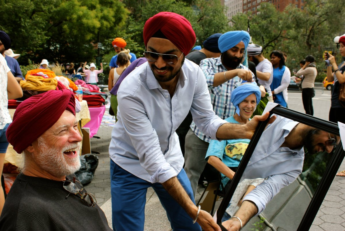 Sharing a laugh at Turban Day in New York City