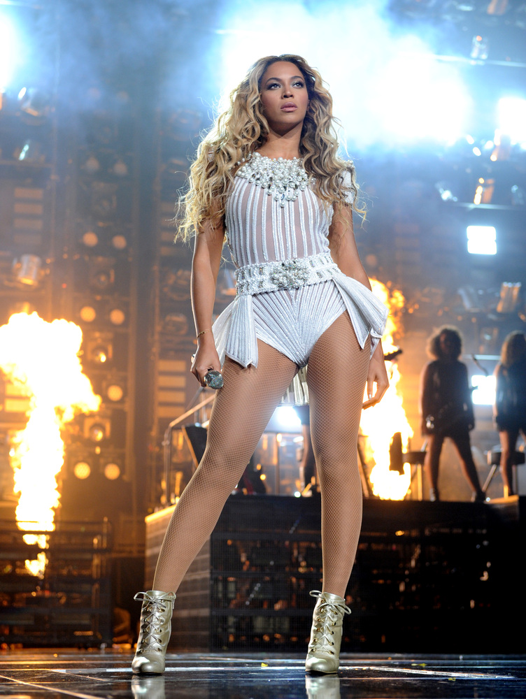 "IMAGE DISTRIBUTED FOR PARKWOOD ENTERTAINMENT - Singer Beyonce performs on her ""Mrs. Carter Show World Tour 2013"" at Staples C"