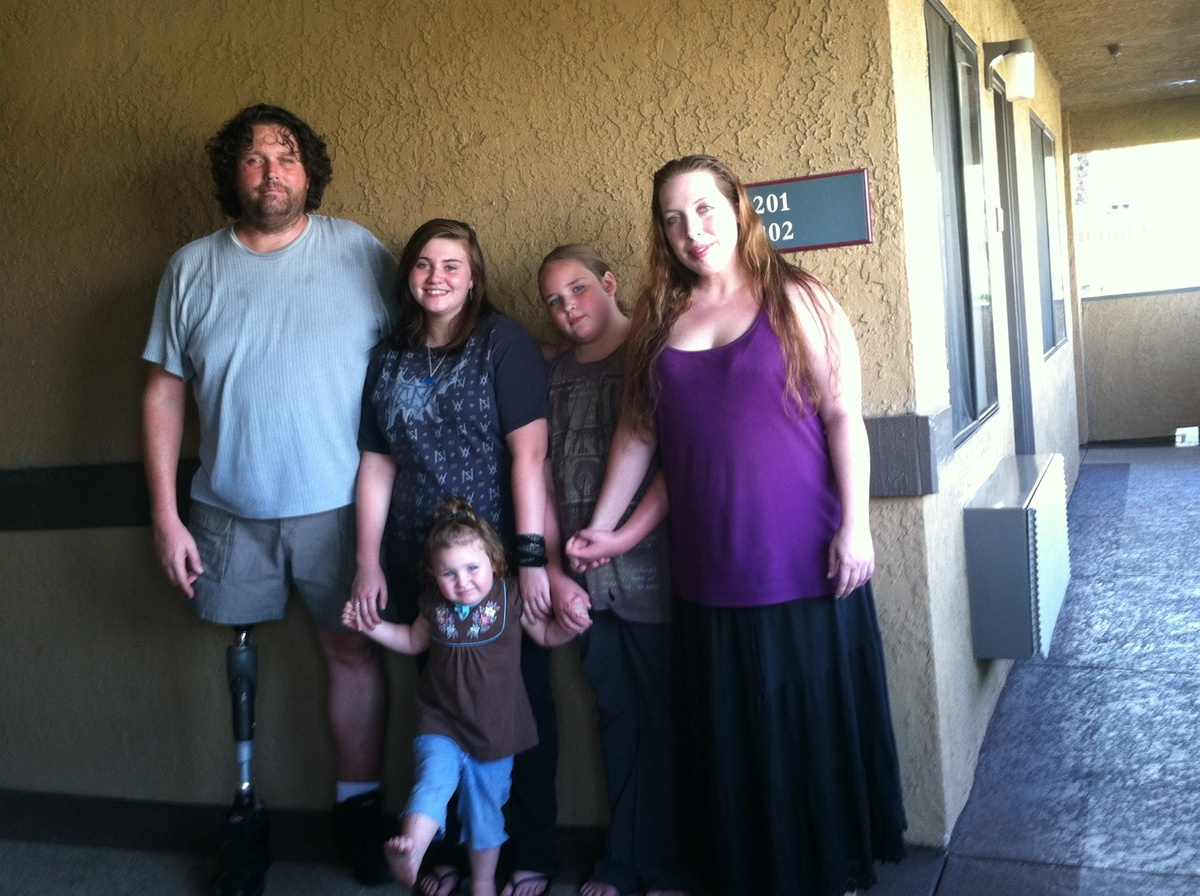 Sharon Ames, a Navy vet, and her husband, Mark, an above-the-knee amputee, are now homeless and living in a California motel