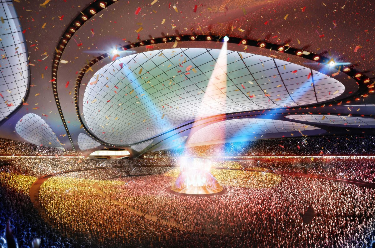 This artist rendering released by Japan Sport Council shows the new National Stadium, the main venue Tokyo plans to build for