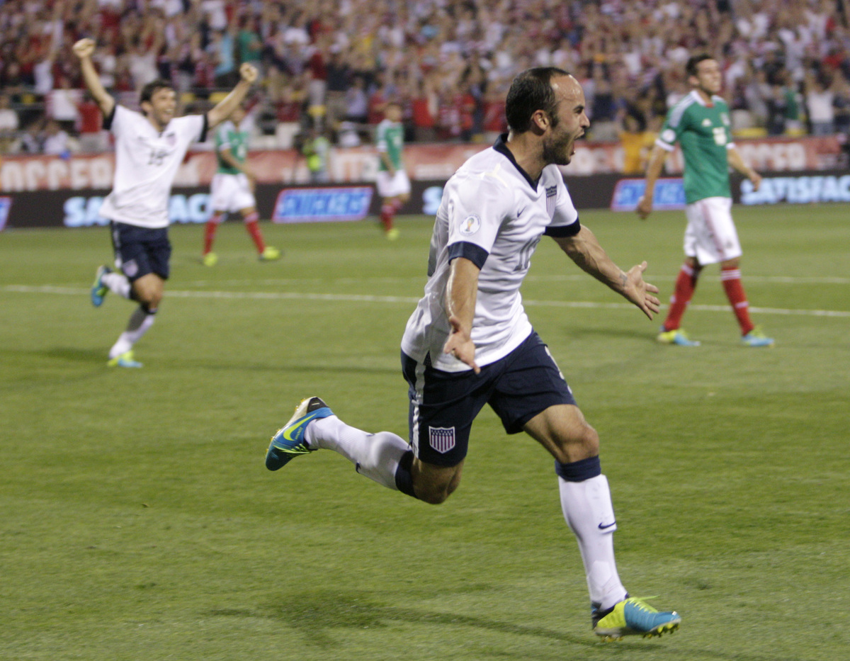 United States' Landon Donovan celebrates his goal against Mexico during the second half of a World Cup qualifying soccer matc