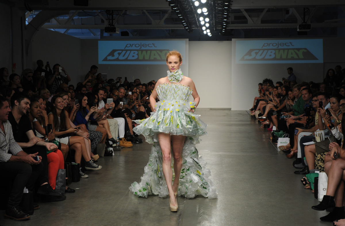 "A model presents a creation made of SUBWAY packaging during the ""Project SUBWAY"" fashion show during New York Fashion Week, W"