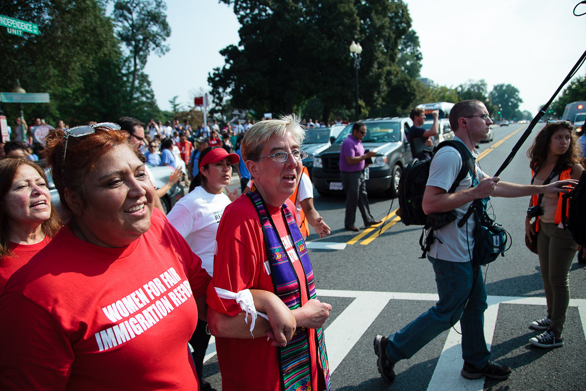 Sandy Sorensen from the United Church of Christ arrested for civil disobedience action for immigration reform on Capitol Hill