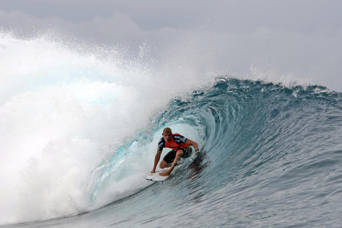 Australian surfer Mick Fanning competes on August 18, 2013 during the 2013 Billabong Pro Tahiti surf competition, in the Hava