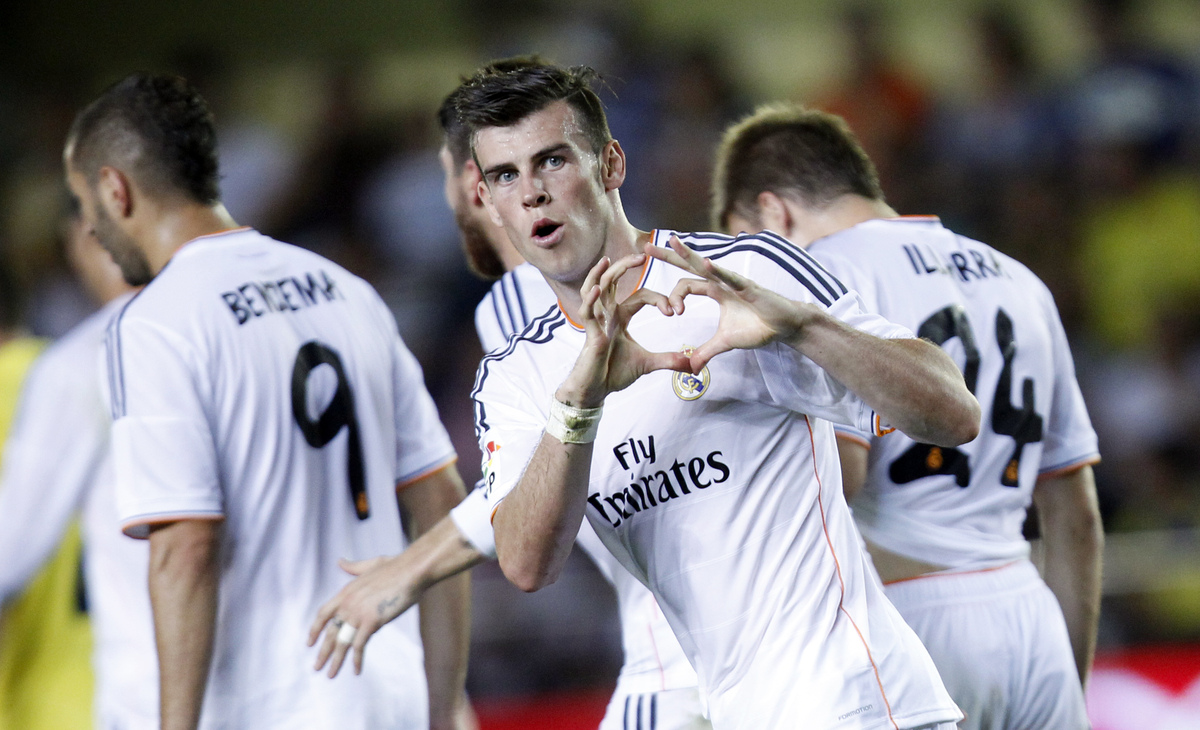 Real Madrid's Gareth Bale from Wales celebrates scoring against Villarreal during their La Liga soccer match at the Madrigal
