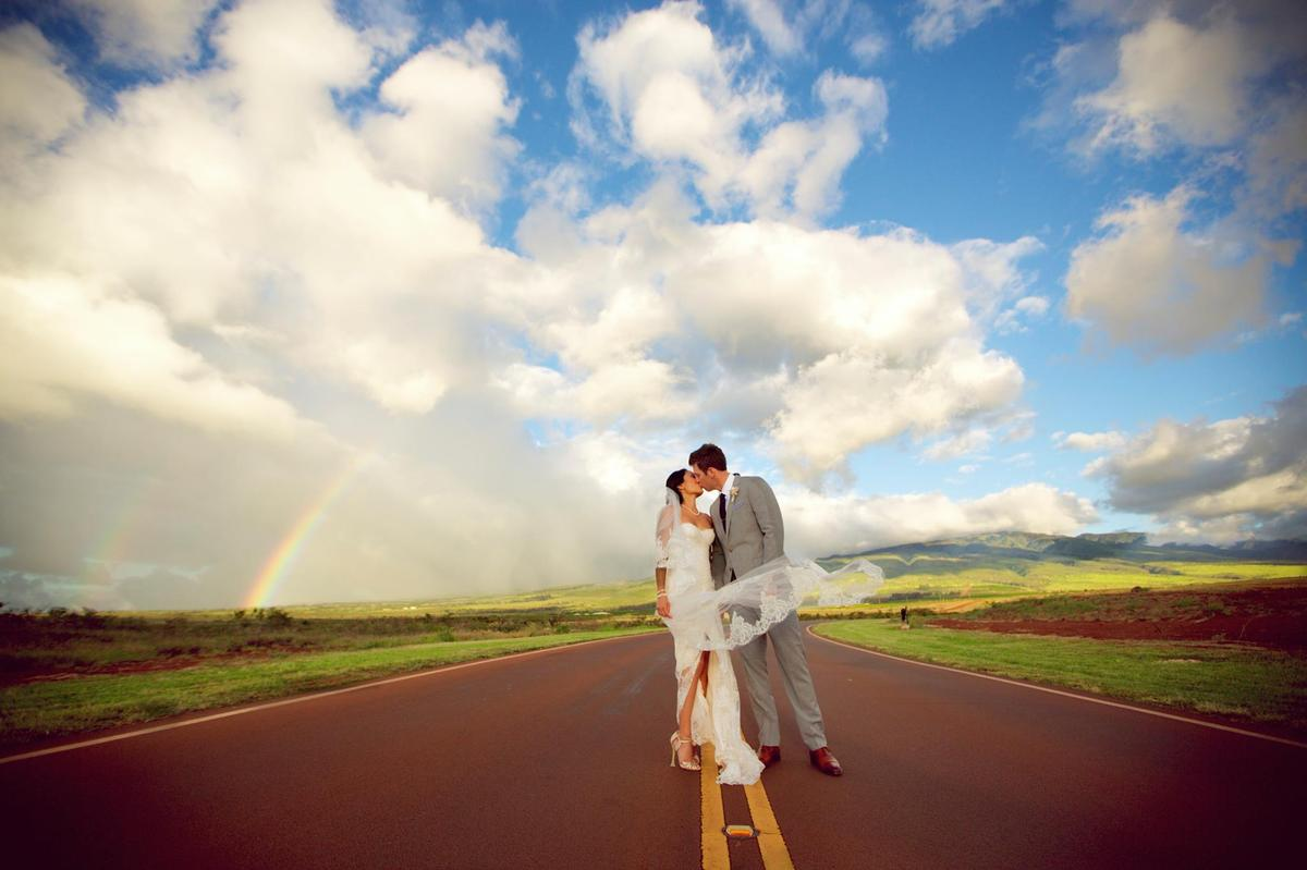 """""""Awesome photo from our wedding at the Ka'anapali Coffee Farm in Maui, HI. The double rainbows were everywhere!"""" - Stephanie"""