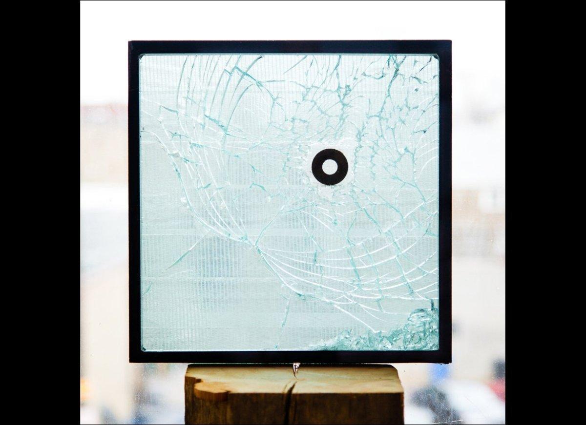 Jesse Soodalter <em>Untitled (for Tessa)</em> Window sample, washer, duct tape 12″ x 12″ 2013