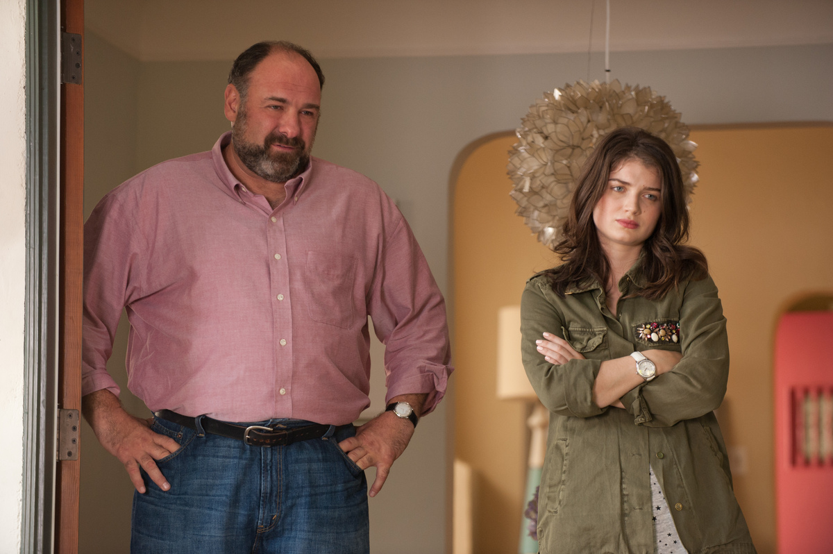 "This publicity photo released by Fox Searchlight shows James Gandolfini, left, and Eve Hewson in a scene from the film, ""Enou"