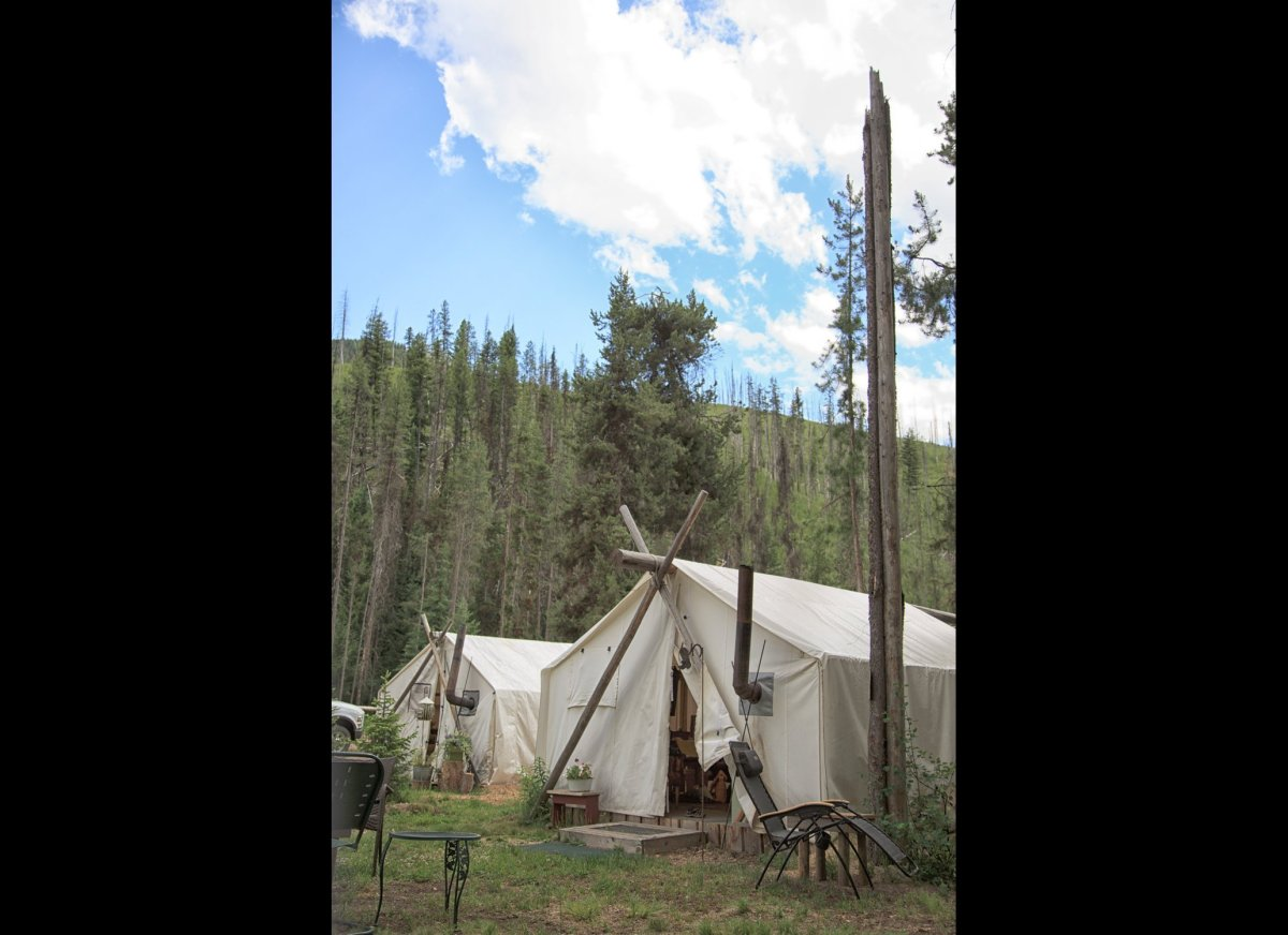 Canvas glamping tents in the Selway-Bitterroot wilderness with Storm Creek Outfitters
