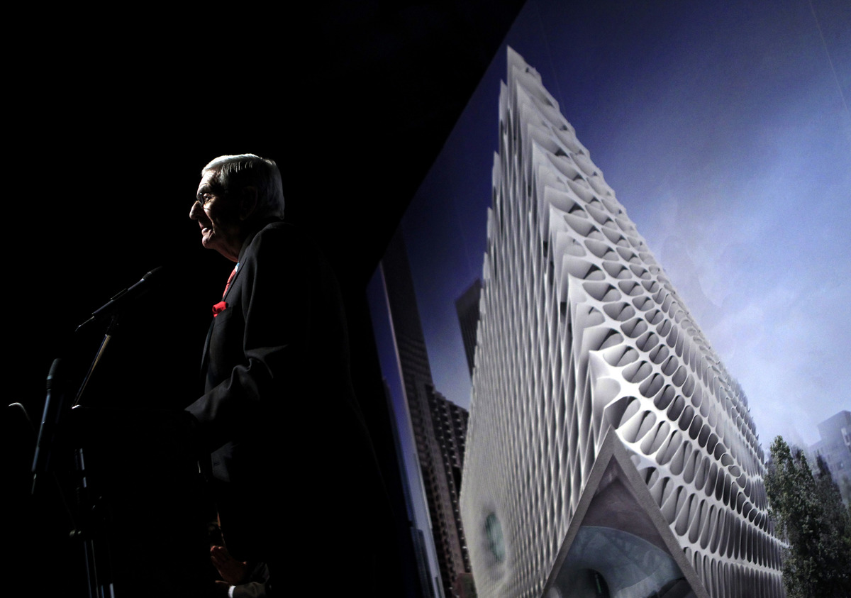 Billionaire Eli Broad speaks during the unveiling of the Broad Art Foundation contemporary art museum designs in Los Angeles,