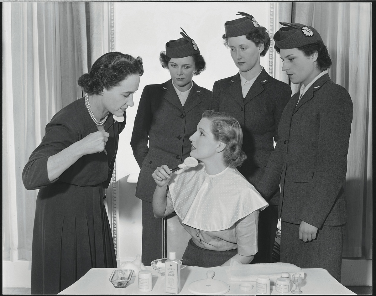 Newly-appointed BEA stewardesses attend Elizabeth Arden's grooming rooms for demonstrations of beauty tips in 1951.