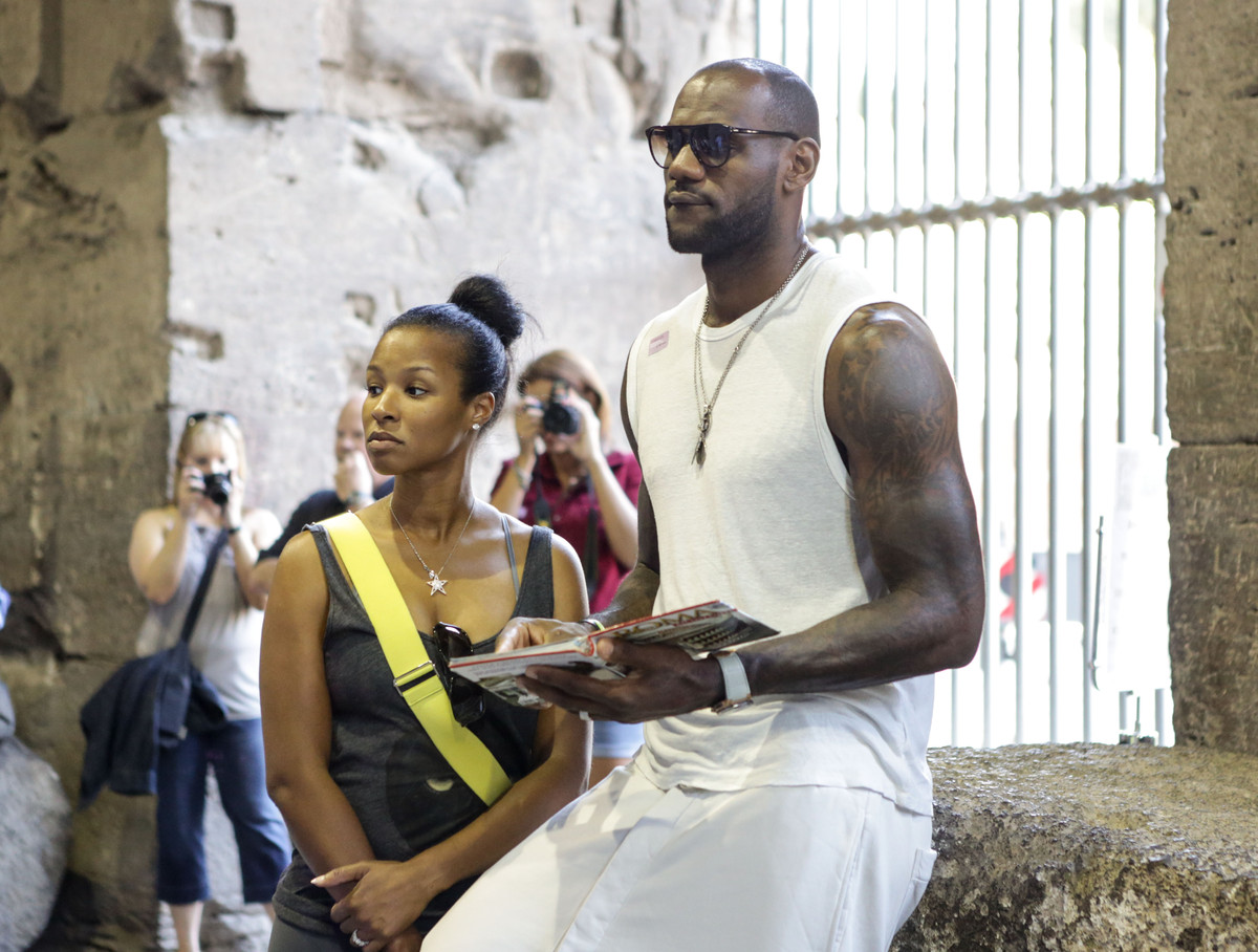 LeBron James and his new wife Savannah Brinson are spotted on their honeymoon at The Colosseum on September 18, 2013 in Rome,