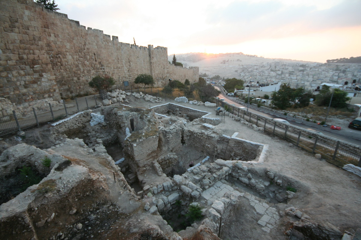 The archaeological site at Jerusalem's Mt. Zion, beneath the city's (Turkish) wall. The site reveals many layers of the city'