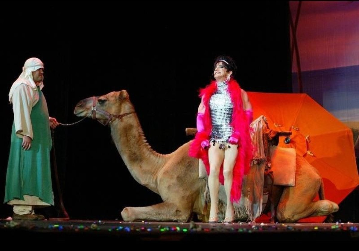 """Lotta Slots the year she rode into the Wilshire Ebell Theatre on a camel while singing """"Midnight at the Oasis,"""" claimed the c"""