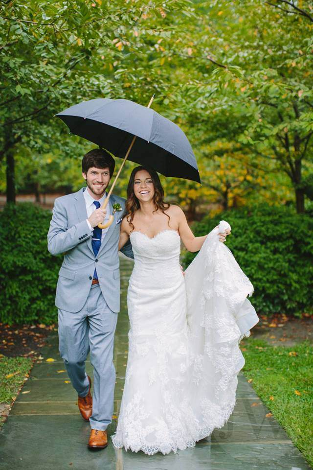 """We (Justin and Susan) got married at Duke Chapel. It poured all day, but it was the best day of our life!"" - Susan Oakley"