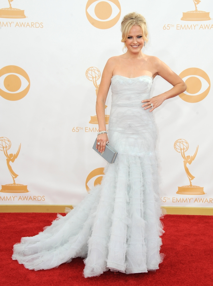 Malin Akerman, wearing Marchesa, arrives at the 65th Primetime Emmy Awards at Nokia Theatre on Sunday Sept. 22, 2013, in Los
