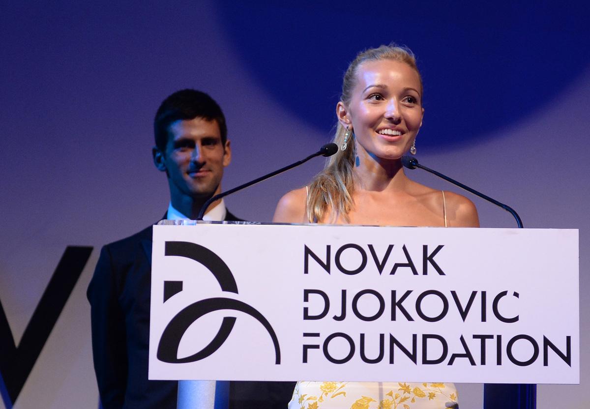 NEW YORK, NY - SEPTEMBER 10:  Founding Chairman Novak Djokovic and Executive Director of the Foundation Jelena Ristic speak o