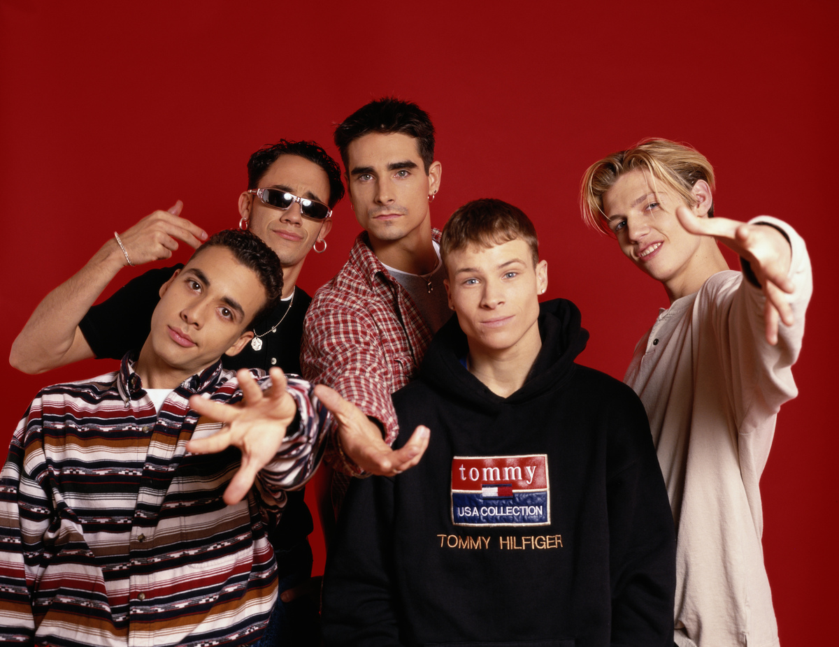 American boyband The Backstreet Boys, circa 1995. They are Brian Littrell, Nick Carter, A. J. McLean, Howie Dorough and Kevin