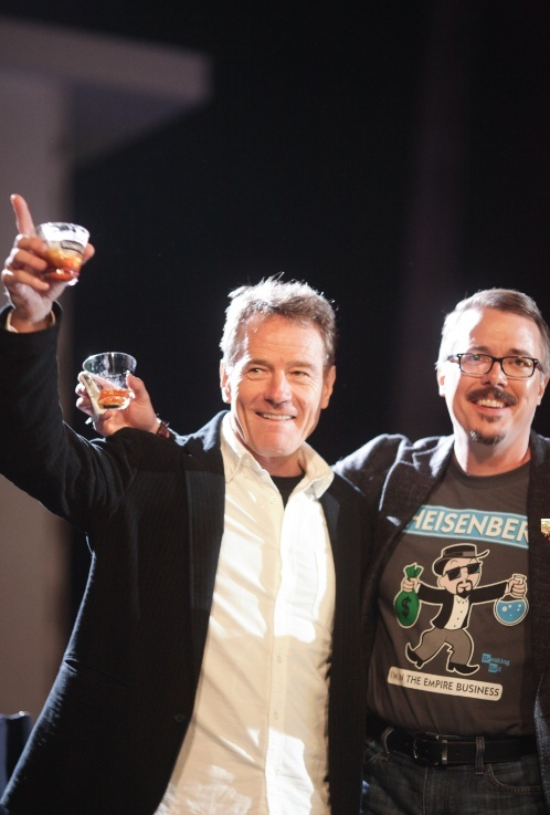 """Bryan Cranston and creator Vince Gilligan toast the end of """"Breaking Bad"""" at the LA finale event."""