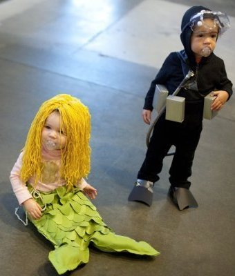 47 fun freaky and fantastic family halloween costumes huffpost 6 mermaid and scuba diver solutioingenieria Image collections