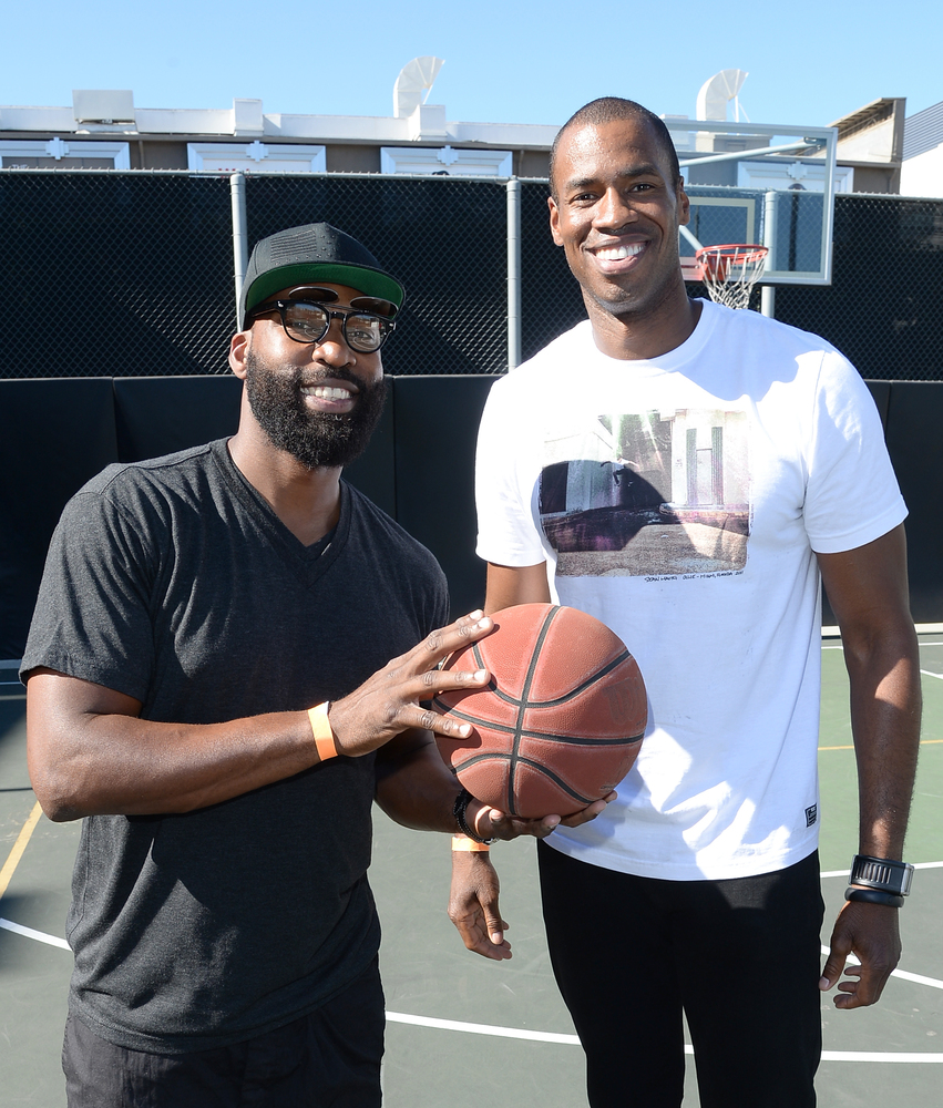 NBA Basketball Players Baron Davis (L) and Jason Collins (R) attend the 2nd Annual GameOn! fundraiser hosted by Common Sense