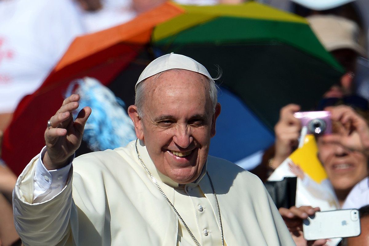 Start with your traditional Pope garb, but finish with an LGBTQ-friendly twist.