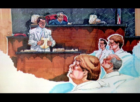 In a courtroom sketch, court clerk Jim Holmes reads the verdict 17 April 1992, in the closing minutes of the Rodney King civi