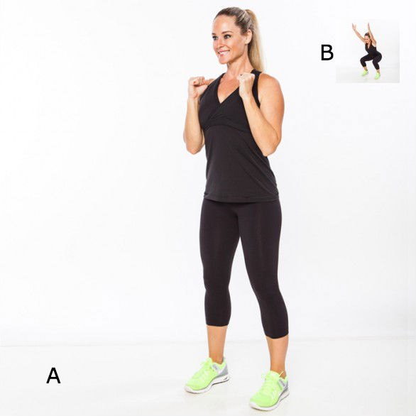 <strong>A:</strong> Stand with feet hip width, elbows bent, hands in fists in front of shoulders. <br><br><strong>B:</strong>