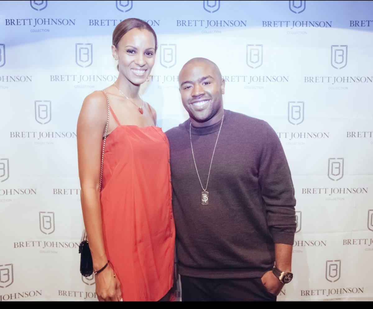 Guest and Brett Johnson attend Brett Johnson Co Launch at Soho House in New York  photo credit:  Gbenga Obafemi