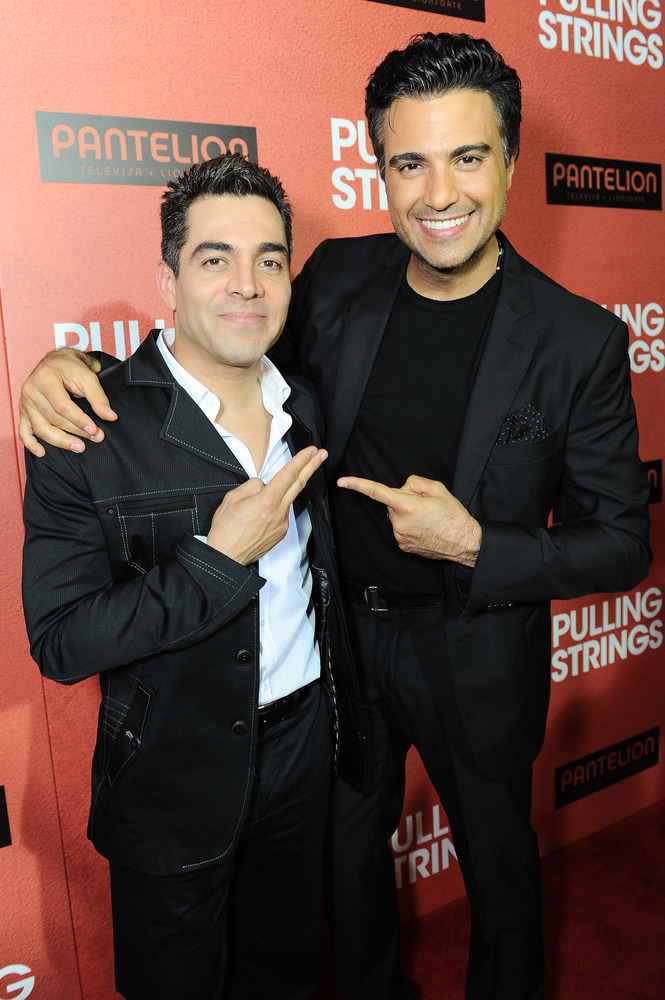 """IMAGE DISTRIBUTED FOR PANTELION FILMS - Omar Chaparro, left, and Jaime Camil arrive at Pantelion Films' """"Pulling Strings"""" Los"""
