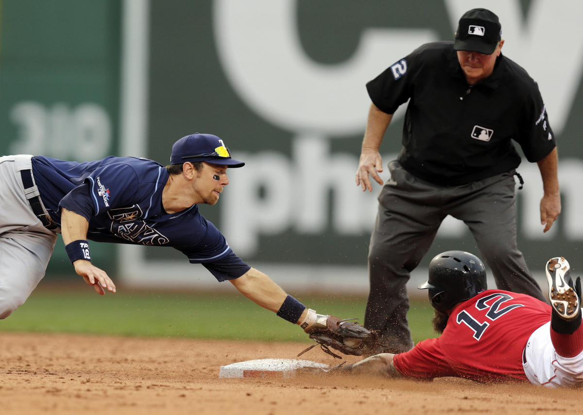 Boston Red Sox's Mike Napoli (12) beats the tag by Tampa Bay Rays second baseman Ben Zobrist, left, for a double in the fifth