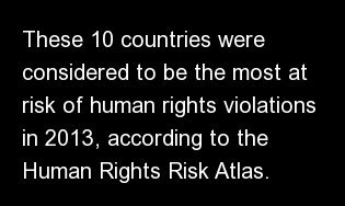 """These 10 countries were considered to be the most at risk of human rights violations in 2013, according to the <a href=""""http:"""