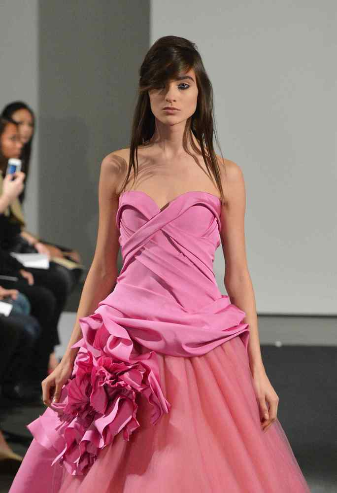 A bright pink gown by Vera Wang, Fall 2014.
