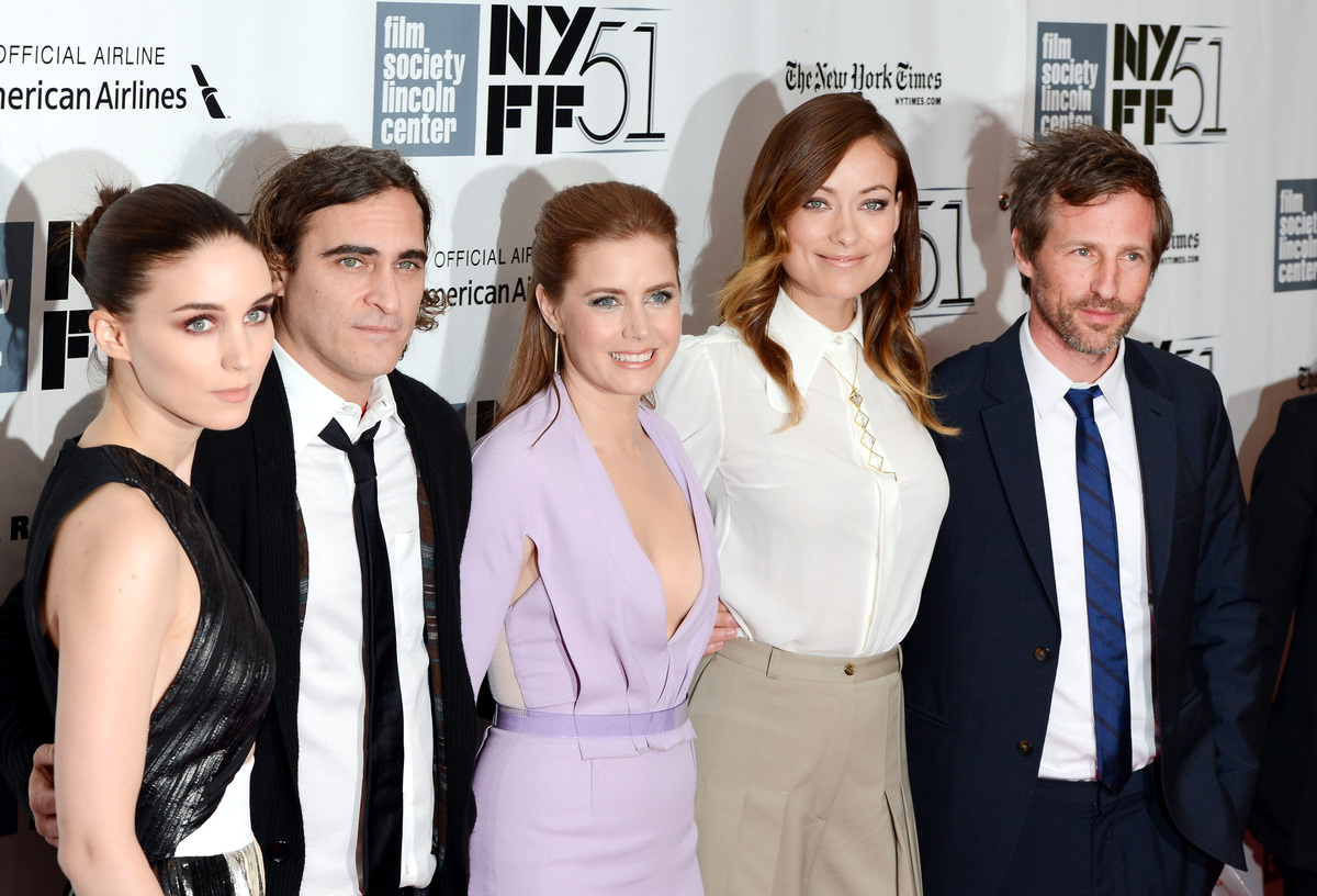 Actors, from left, Rooney Mara, Joaquin Phoenix, Amy Adams and Olivia Wilde pose with director Spike Jonze, right, at the 51s