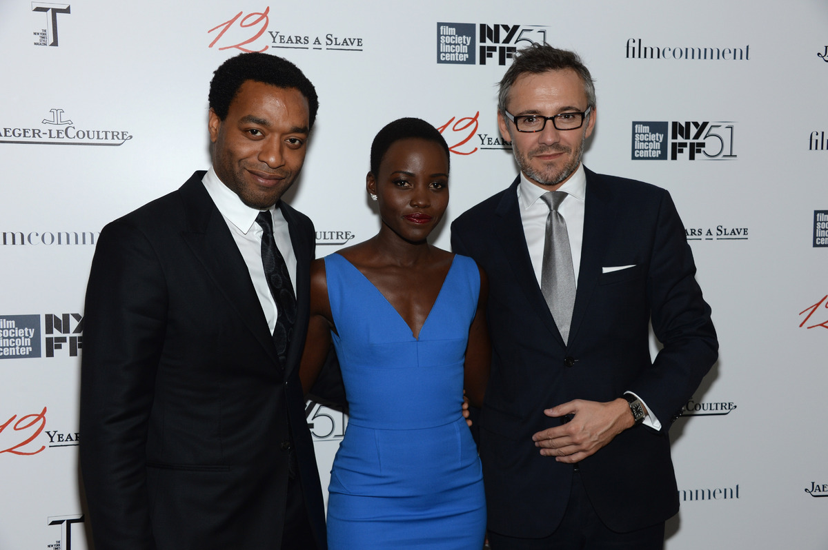 NEW YORK, NY - OCTOBER 08:  Actors Chiwetel Ejiofor and Lupita Nyong'o and Director de la Communication at Jaeger-LeCoultre,