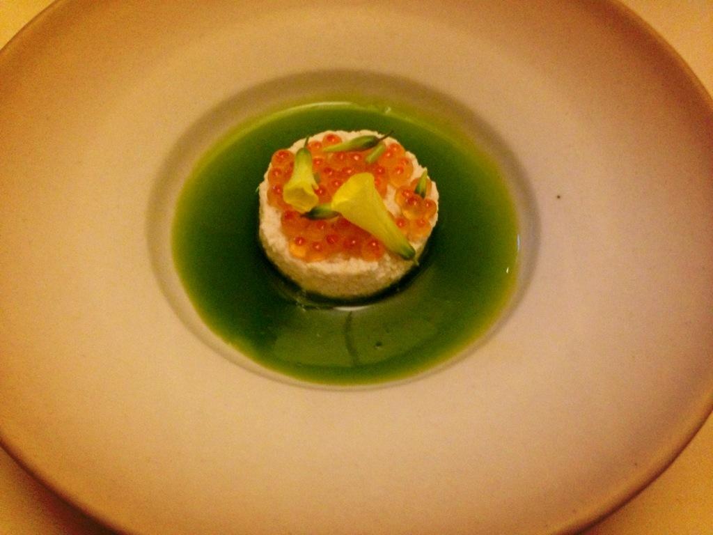 Tofu coagulated in seawater, steelhead trout roe, oxalis flowers.