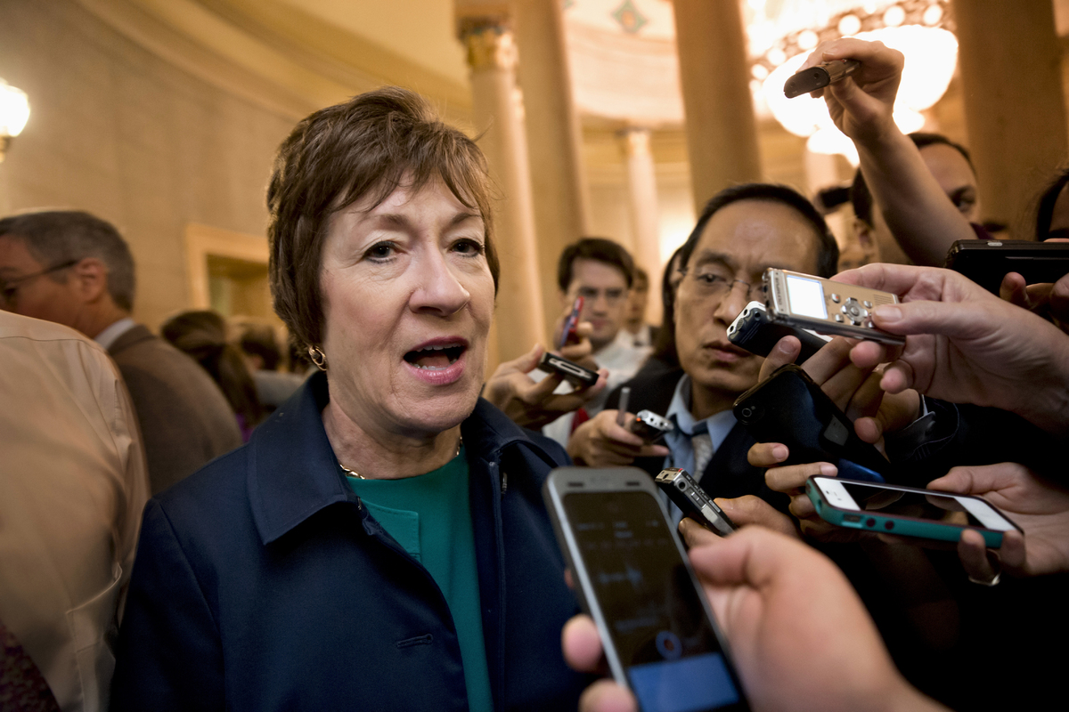 Sen. Susan Collins, R-Maine speaks to reporters on Capitol Hill in Washington, Friday, Oct. 11, 2013, after Republican senato