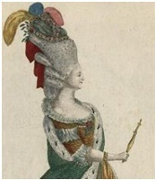 And the hairstyles continued to rise in height. In February 1776, the queen, going to a ball given by the Duchess of Orléans,