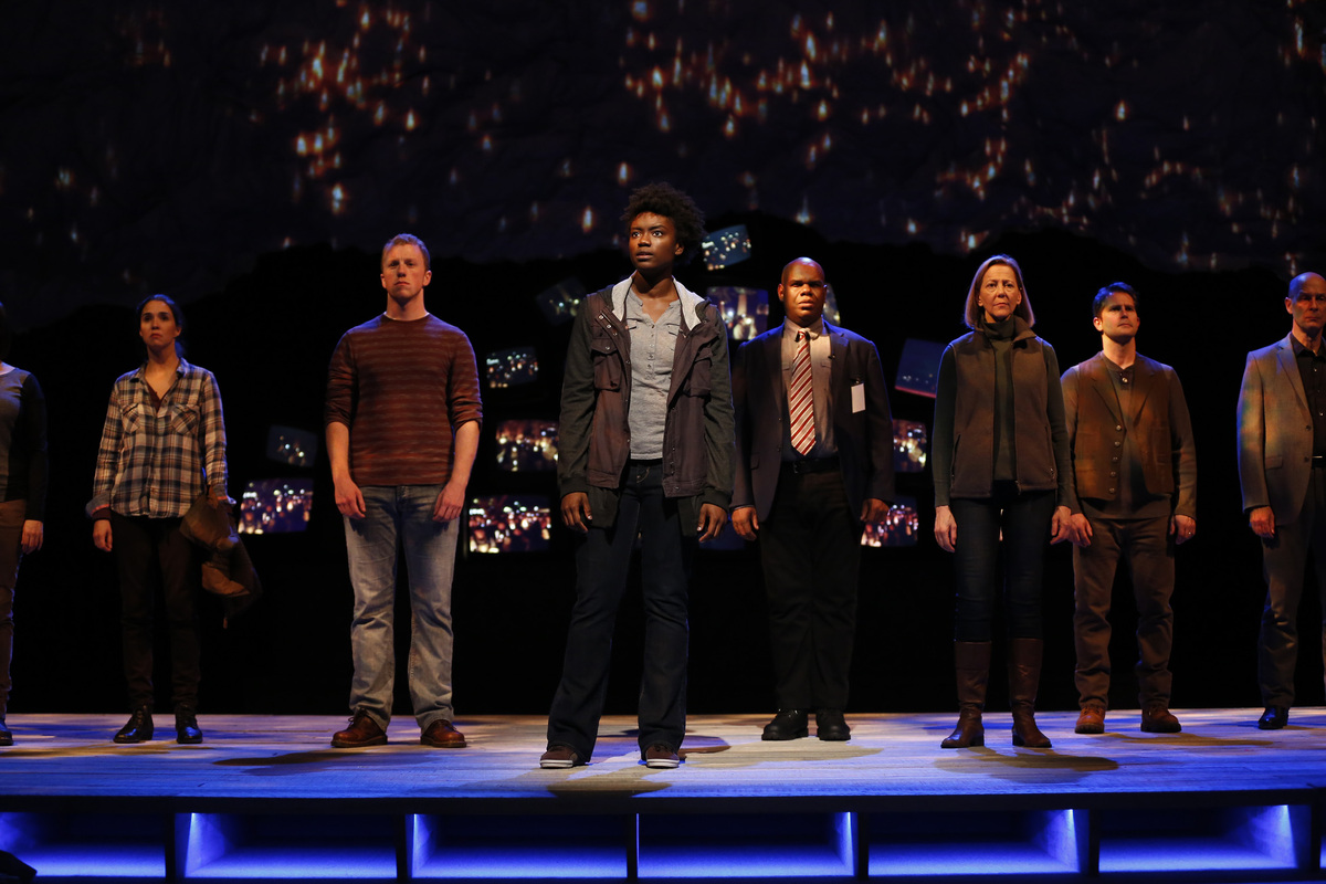 The cast of the Ford's Theatre production of <em>The Laramie Project</em>, directed by Matthew Gardiner