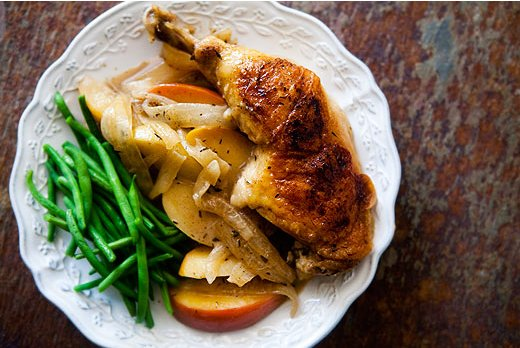 """<strong>Get the<a href=""""http://www.simplyrecipes.com/recipes/chicken_normandy/"""" target=""""_blank""""> Chicken Normandy Recipe</a>"""