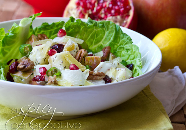 """<strong>Get the <a href=""""http://www.aspicyperspective.com/2012/12/waldorf-salad-healthy-salad-recipe.html"""" target=""""_blank"""">Ho"""