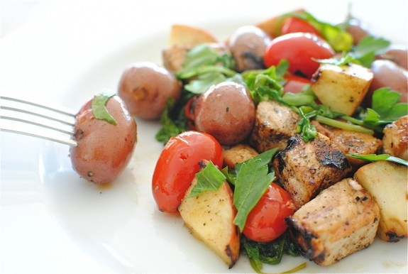 """<strong>Get the <a href=""""http://bevcooks.com/2012/01/pork-kebabs-with-apples-and-potatoes/"""" target=""""_blank"""">Pork Kebabs with"""