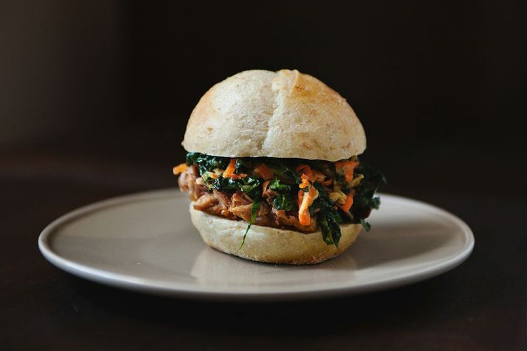 """<strong>Get the <a href=""""http://food52.com/recipes/18628-chinese-pulled-pork-sandwiches-with-kale-and-apple-slaw"""" target=""""_bl"""