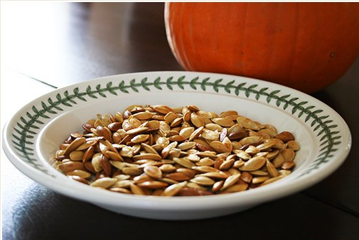 """<strong>Get the <a href=""""http://www.simplyrecipes.com/recipes/toasted_pumpkin_seeds/"""" target=""""_blank"""">Roasted Pumpkin Seeds R"""