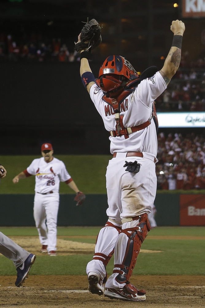 St. Louis Cardinals' Yadier Molina reacts after Game 6 of the National League baseball championship series against the Los An