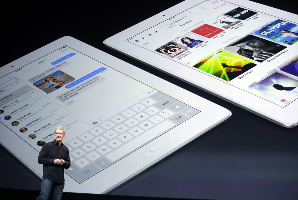 Apple CEO Tim Cook speaks on stage before a new product introduction on Tuesday, Oct. 22, 2013, in San Francisco. (AP Photo/M